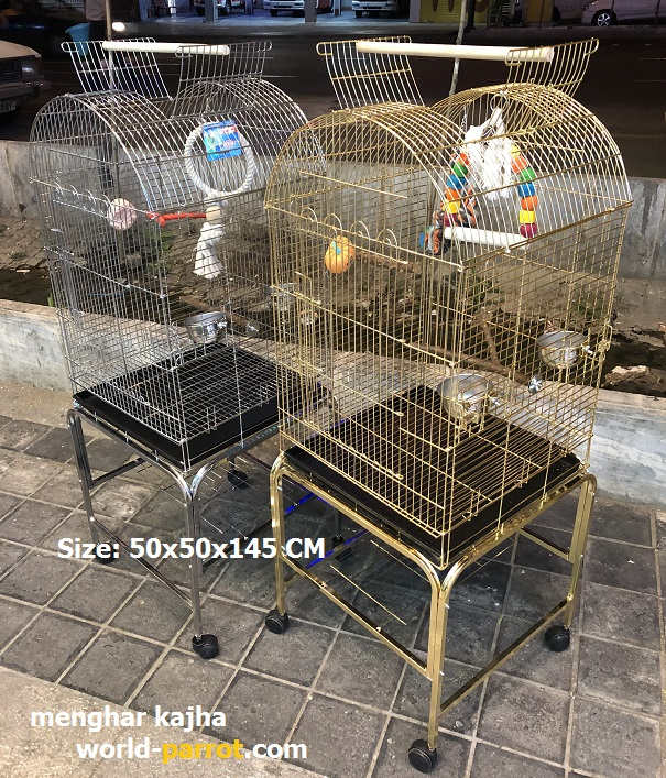 chrome-gold-bird-cage-parrots